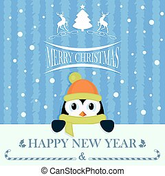 Christmas blue card with little penguin