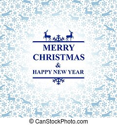 Christmas blue card with snowflakes and deer