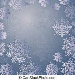 Christmas blue composition with a set of elegant white snowflakes, frame.