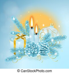 Christmas blue composition with a two burning candles and Christmas bauble