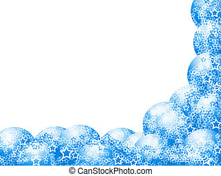 Elegant Christmas Corner Frame with Blue Balls and Lacy Stars over Blank White Background