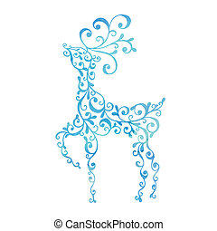 Christmas blue deer isolated on white background