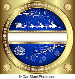 Christmas blue design with a gold border