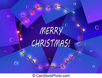 Christmas blue design with a round wreath with burning colored bulbs