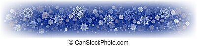 Christmas blue design with a set of white graceful, aerial snowflakes.