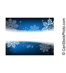 Christmas blue design with a small tree, balls and large blue snowflakes,