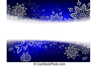Christmas blue design with numerous white, beautiful snowflakes and balls in retro style