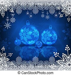 Christmas blue design with shiny balls