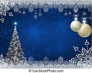 Christmas blue design with shiny Christmas tree
