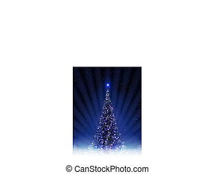 Christmas blue design with shiny Christmas tree with rays of light.