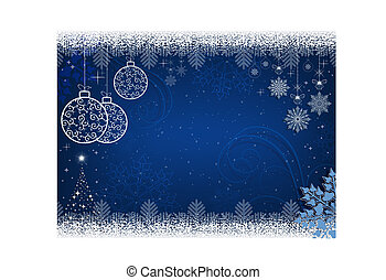 Christmas blue design with white balls in retro style and snowflakes.