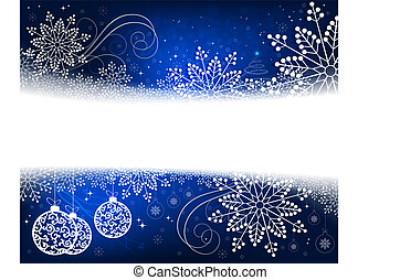 Christmas blue design with white, elegant snowflakes, abstract small Christmas tree and balls in retro style