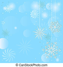 Christmas blue frame with snowflakes and balls (vector eps...