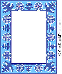 Christmas blue frame with trees