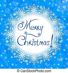 Christmas blue greeting card.