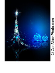 Christmas blue greeting card with abstract christmas tree and glass balls.
