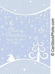 Christmas blue greeting