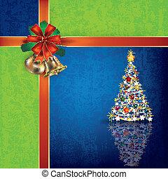Christmas blue greeting with handbells and gift ribbons