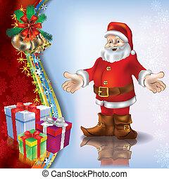 Christmas blue greeting with Santa and handbells