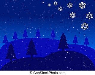 christmas blue landscape