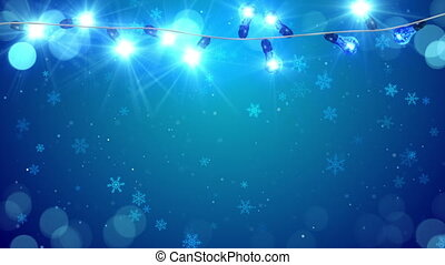 christmas blue light bulbs and snowfall loop