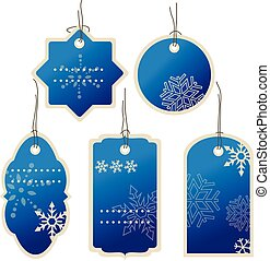 Christmas Blue nad winter price tags