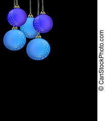 Christmas Blue Ornaments on Black