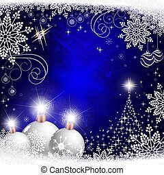 Christmas blue postcard, composition with white balls with snowflakes and a Christmas tree.