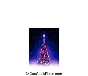 Christmas blue postcard with shiny purple Christmas tree with rays of light.