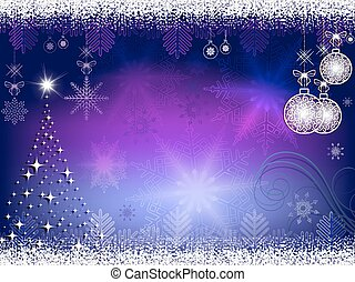 christmas blue, purple background with balls