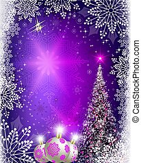 Christmas blue, purple background with Christmas tree and balls