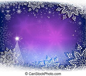 christmas blue, purple background with christmas tree
