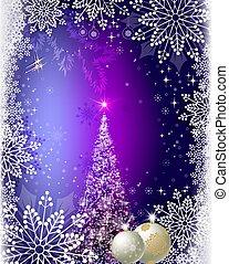 christmas blue, purple background with christmas tree