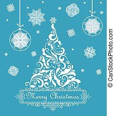 Christmas blue retro greeting card