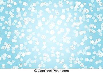 Christmas blue shiny background with snowflakes and lens