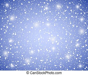 Christmas blue shiny background with snowflakes and stars