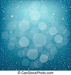 Christmas blue snow bokeh