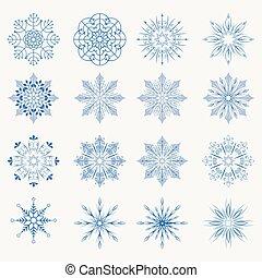 Christmas blue snowflakes, set