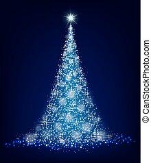 Christmas blue tree on a black background