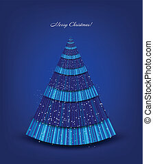 Christmas blue tree. Vector