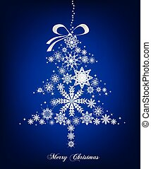 Christmas blue Tree with stars. Vector