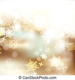 Christmas blurred background with bokeh light and snowflakes for design