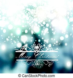 Christmas blurred background with hand drawn snowflakes and lights Snowfall illustration
