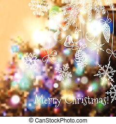 Christmas blurred background with hand drawn snowflakes, lights and Christmas decorations