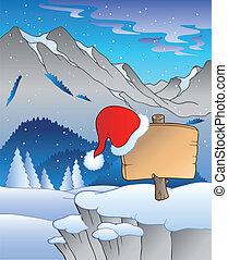 Christmas board in winter landscape - vector illustration.
