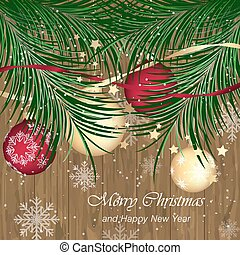 Christmas bobble on wooden texture with pine needles. Happy ...