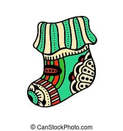 christmas boho sock - Christmas sock with beautiful...