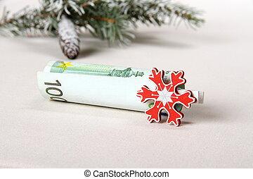 Christmas bonus - hundred euro with red snowflake