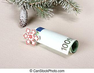 Christmas bonus - hundred euro with white snowflake