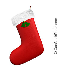 A render of an isolated hanging christmas red boot